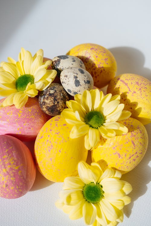 Pink and Yellow Easter Eggs Quail Eggs and Flowers
