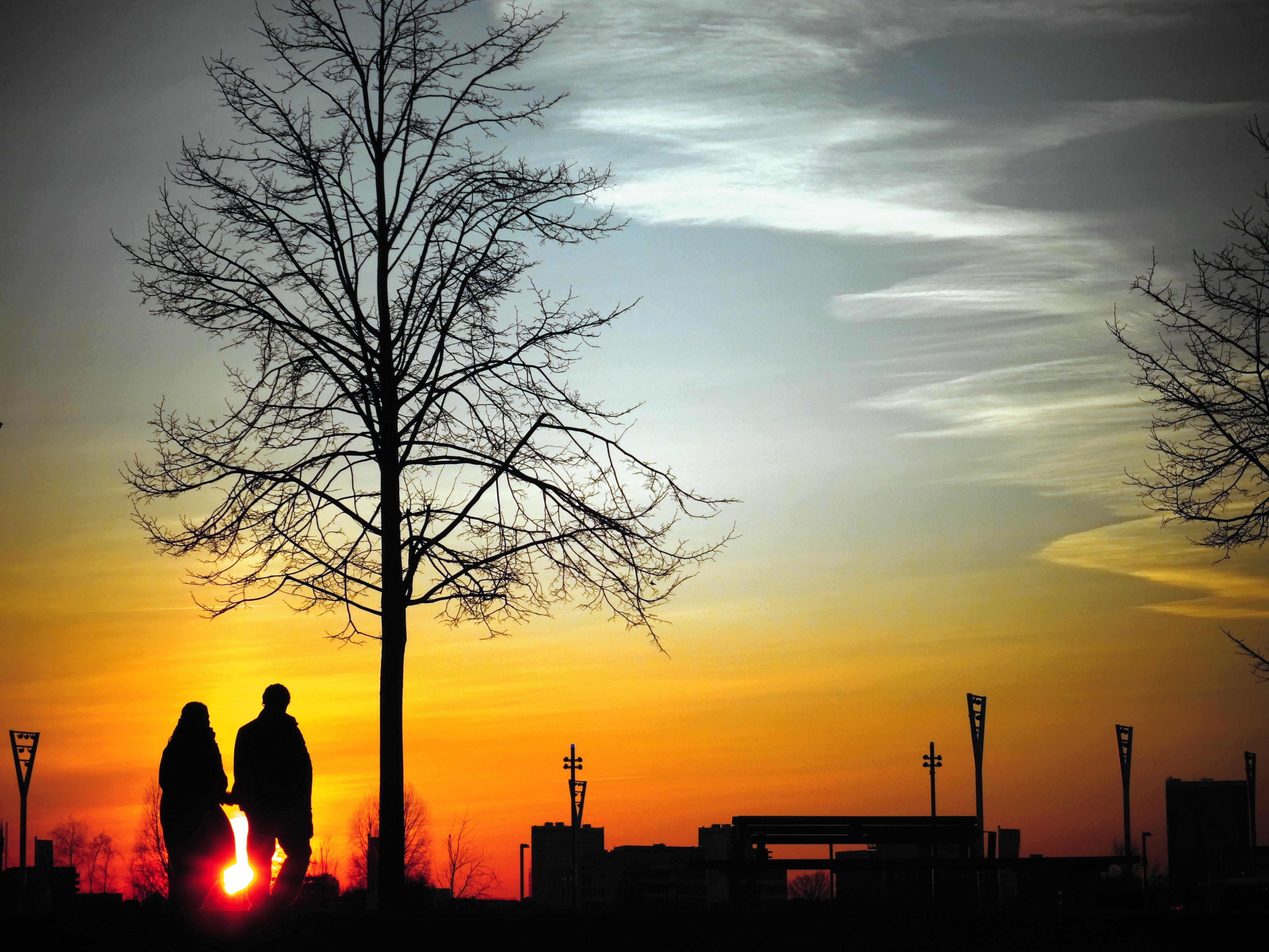 backlit, clouds, couple