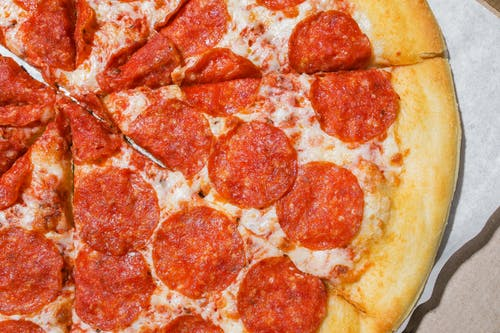 Close Up Shot of Pepperoni Pizza