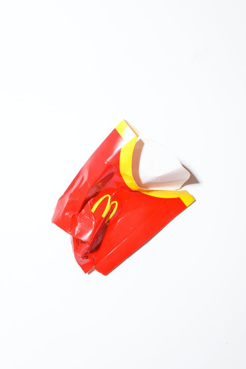 Crumpled fast food packaging