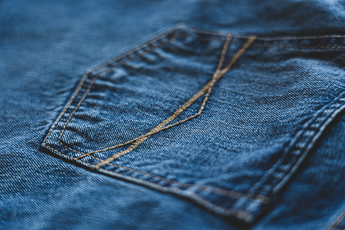 Blue Denim Jeans In Close-up View