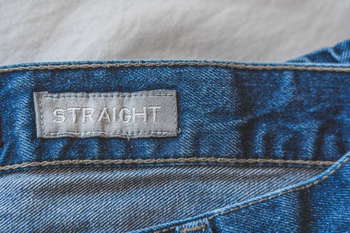 Blue Denim Jeans With Label