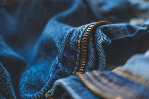 Blue Denim Jeans With Focus On Zipper