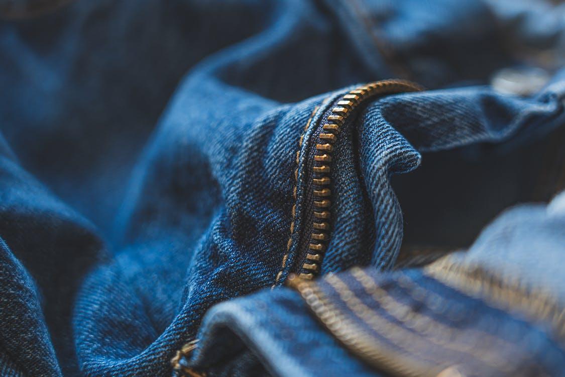 Blue Denim Jeans With Focus On Zipper