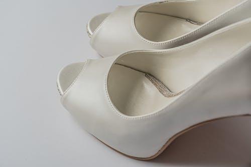 White Leather Peep Toe Heeled Sandals