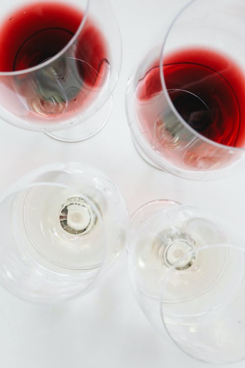 Clear Drinking Glasses With Red Wine