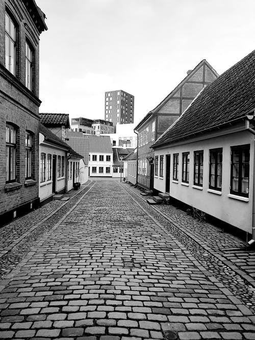 Grayscale Photo of An Empty Cobblestone Street