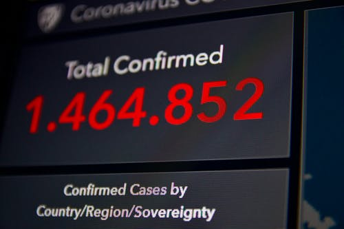 Data On Confirmed Cases On A Screen