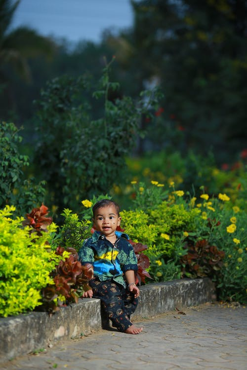 Photo Of Boy Sitting Near Flowers