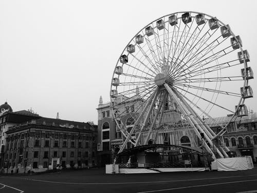 Monochrome Photo Of Ferris Wheel