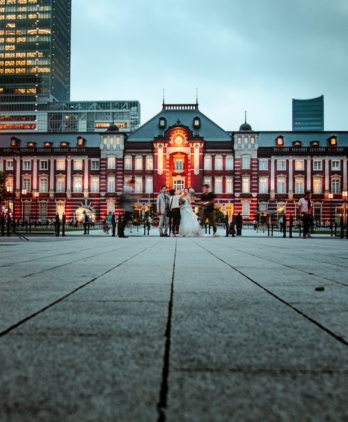 Traditional Japanese building on square o-cloudy evening