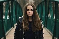 snow, girl, bridge