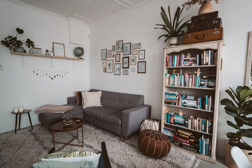 Photo Of Bookshelves Near Grey Couch