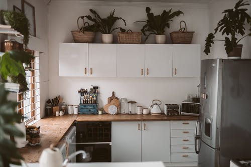 White Wooden Kitchen Cabinet With Green Potted Plants