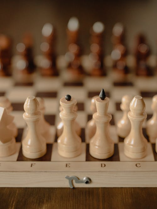 White Chess Piece on Chess Board