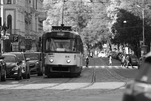 Grayscale Photography Of Tramway