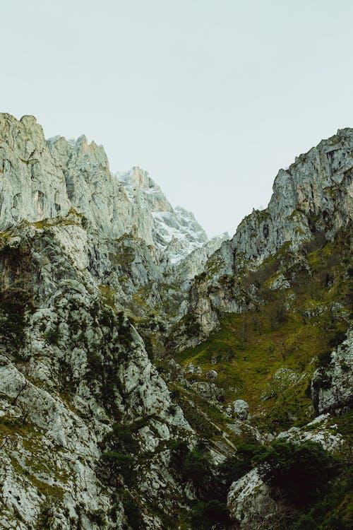 Valley of white barren steep rocks