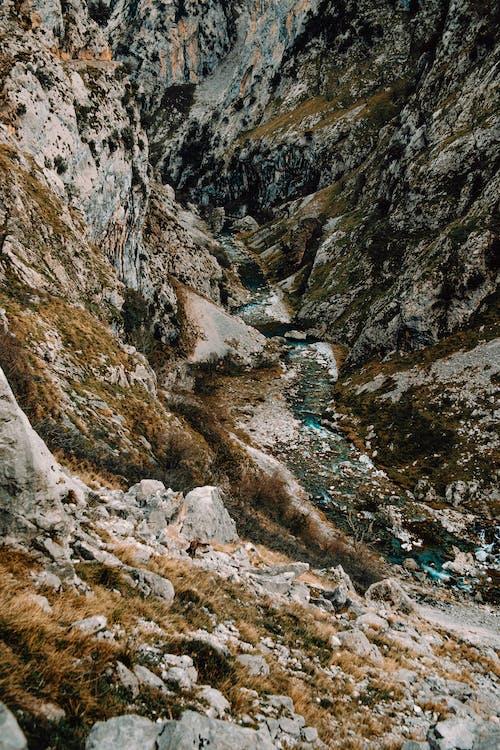 Swirling river on mountainous terrain