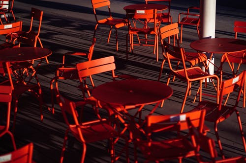 Red and Brown Metal Chairs