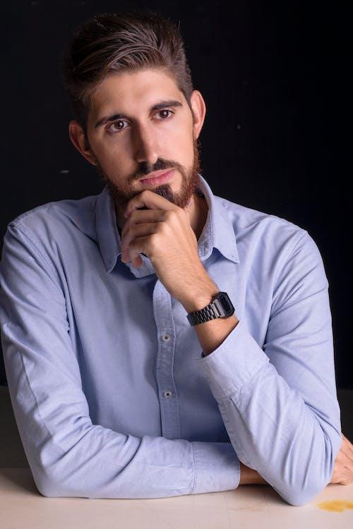 Man in Gray Dress Shirt