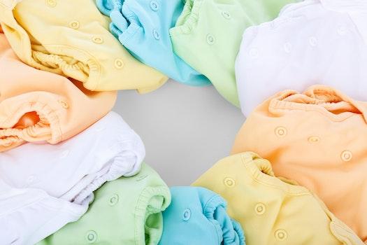 White Blue Orange and Yellow Drawstring Bag