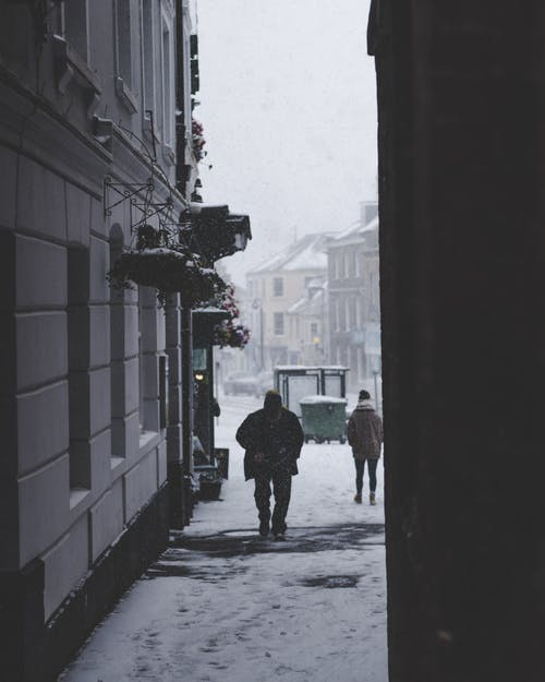 People Walking In The Street On A Snowy Day