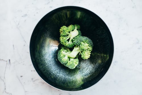 Green Broccoli on Black Round Bowl