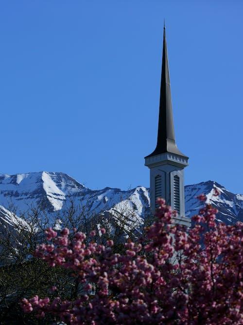 Fotos de stock gratuitas de campanario, cielo azul, Iglesia, montañas