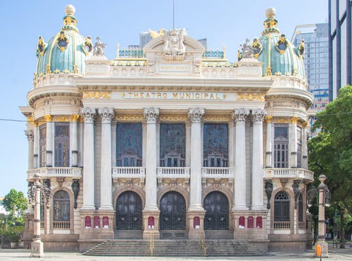 Art Nouveau styled exterior of Municipal Theater with columns and domes in Rio de Janeiro
