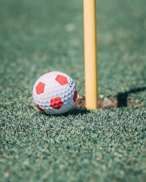 Bright golf ball on turfed field in daylight
