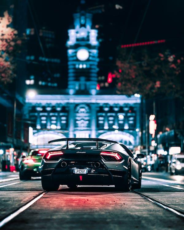 Black Lamborghini on Road during Night Time