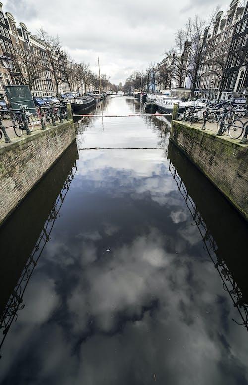 Free stock photo of bridge, clouds, reflection
