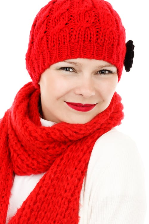Woman in Red Crochet Knit Cap and Scarf