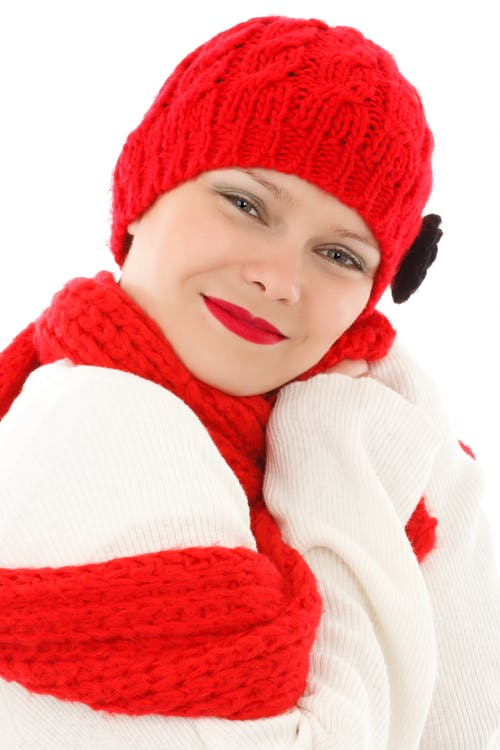 Woman Wearing Red Snow Cap