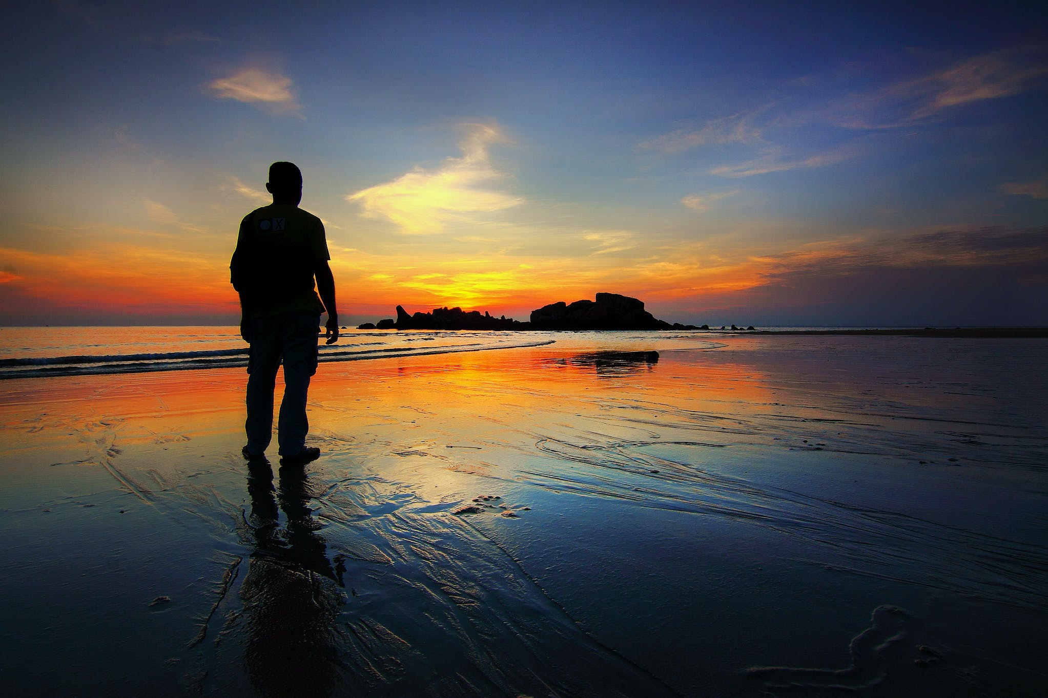 backlit, beach, calm