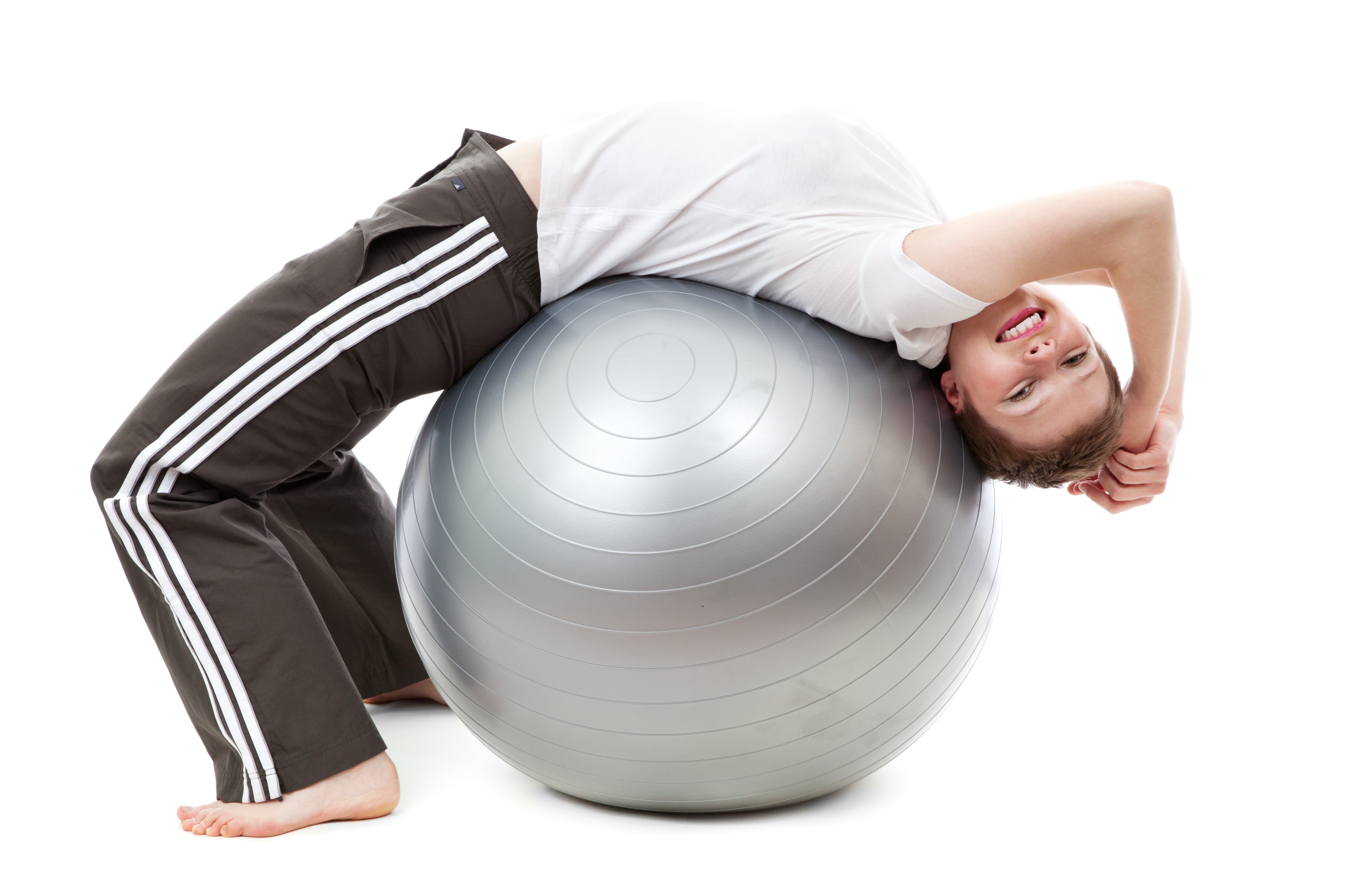Woman in White Cap Shirt on Stability Ball