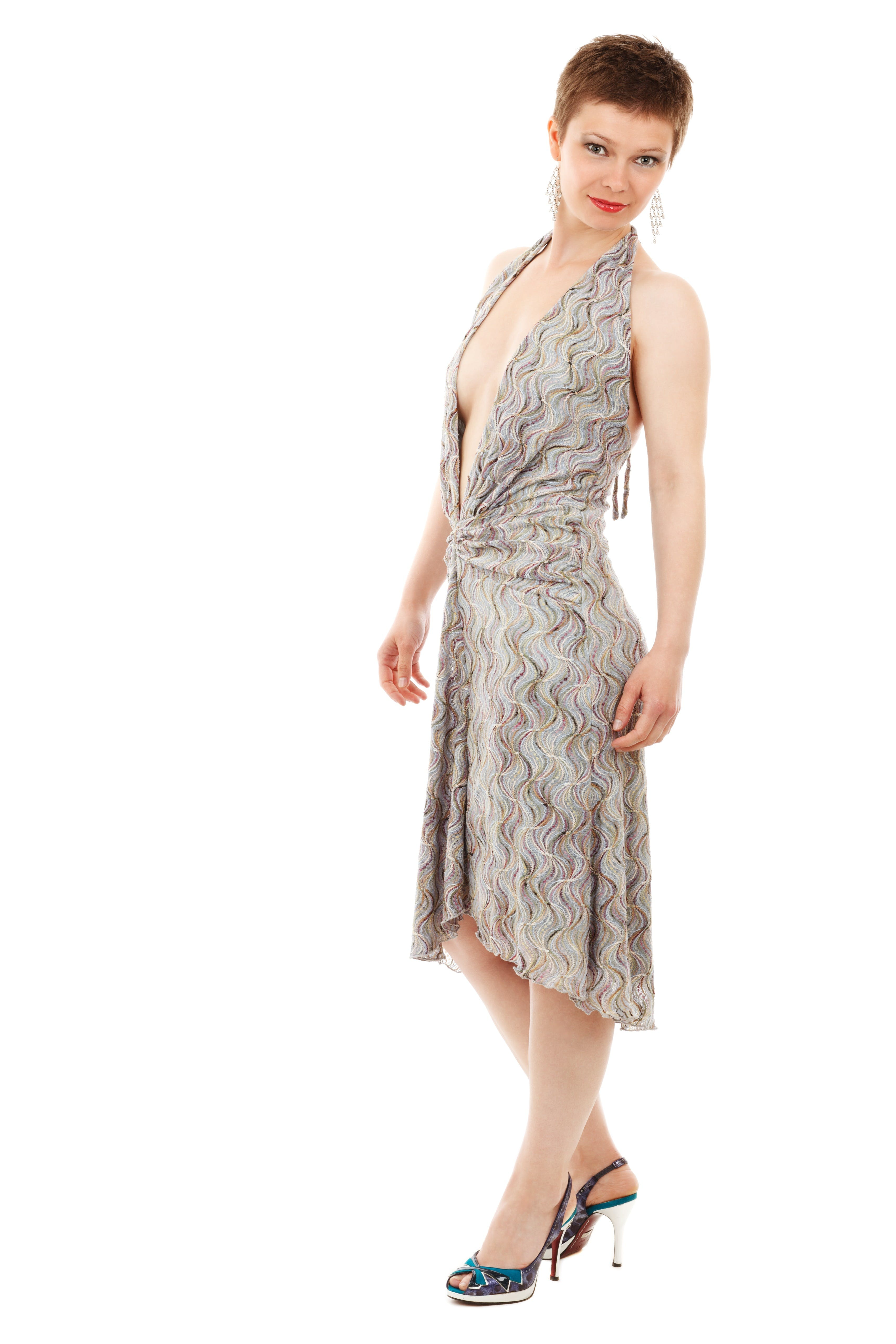 Women's Gray Halter Dress