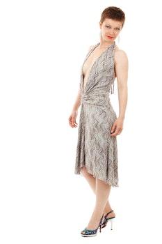 Women's Gray Halter Dress
