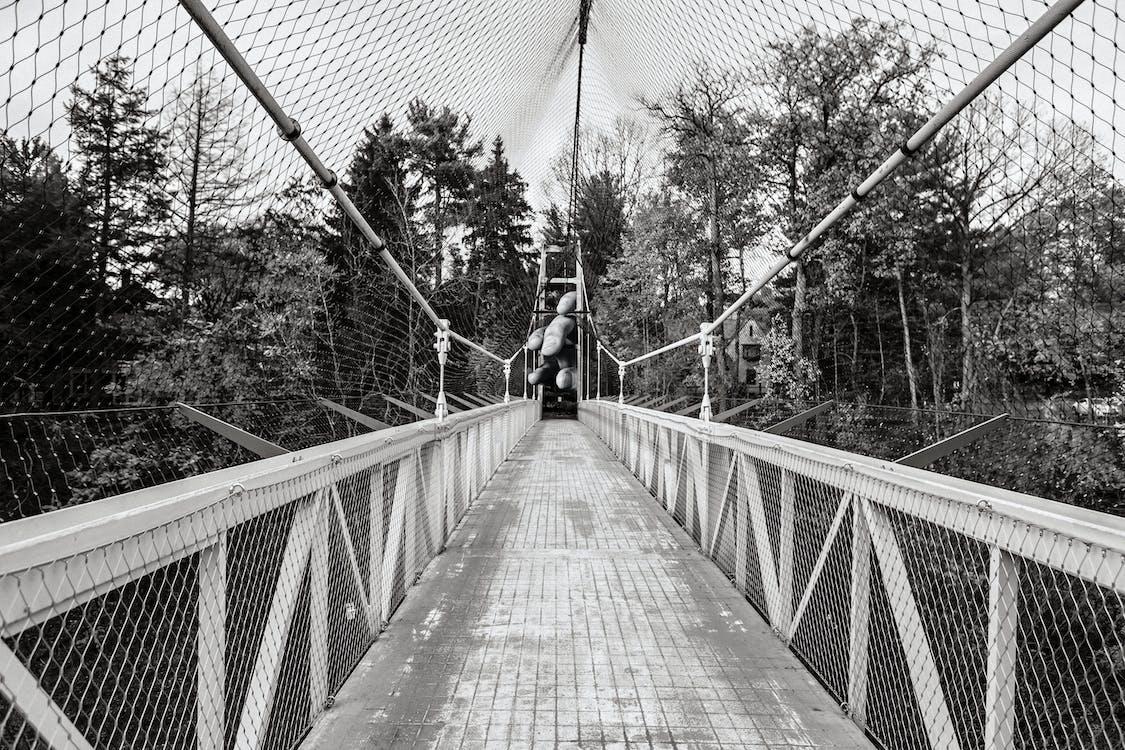 Darmowe zdjęcie z galerii z czarno-biały, kładka, most