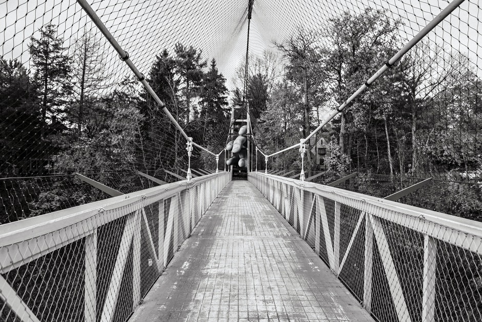 black-and-white, bridge, footbridge