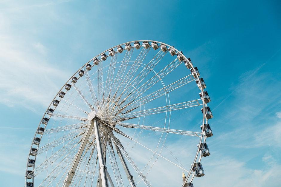 amusement park, blue sky, bright
