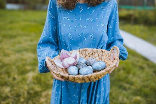 Woman in Blue Long Sleeve Dress Holding a Basket