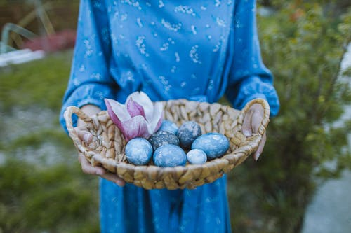 Blue Eggs on a Woven Basket