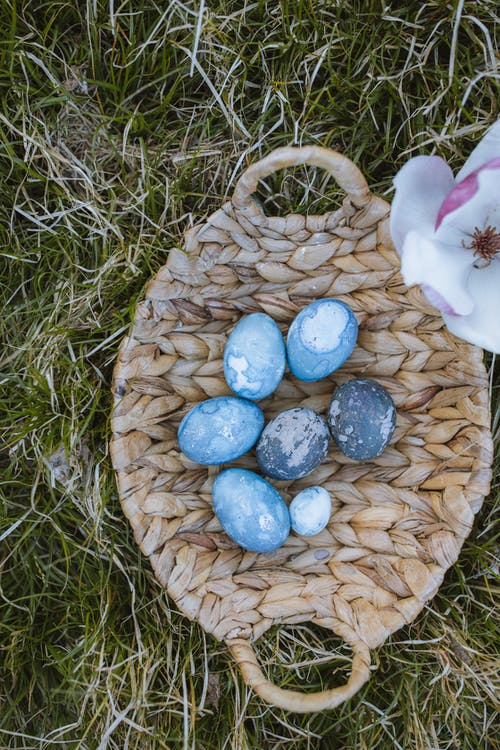 Easter eggs on a Woven Basket