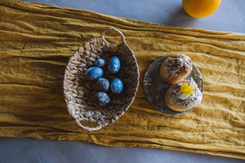Blue Eggs in a Basket and Easter Cake