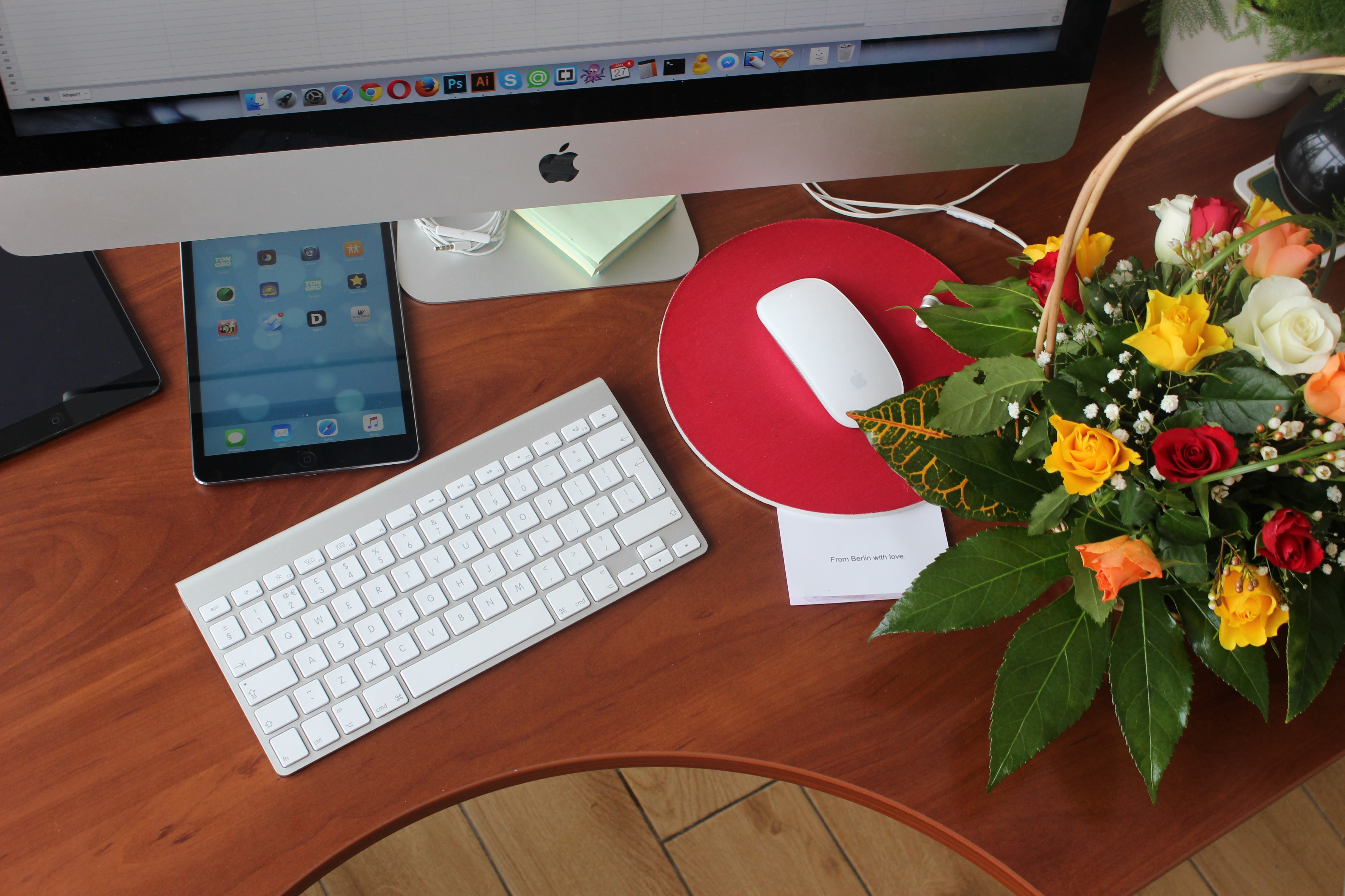 Free stock photo of computer, desk, flowers, ipad
