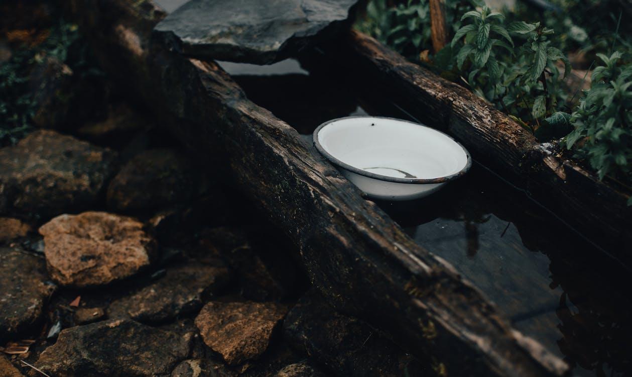Enamel bowl on wooden aqueduct in garden
