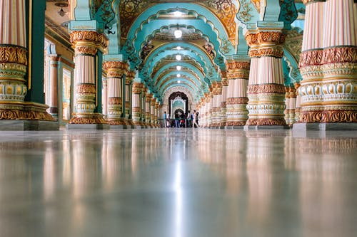 Ornamental turquoise archway in magnificent Indian palace