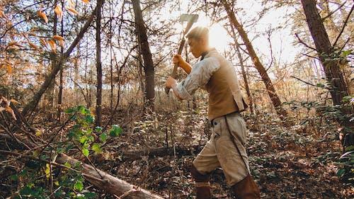 Man Holding An Axe Cutting Woods
