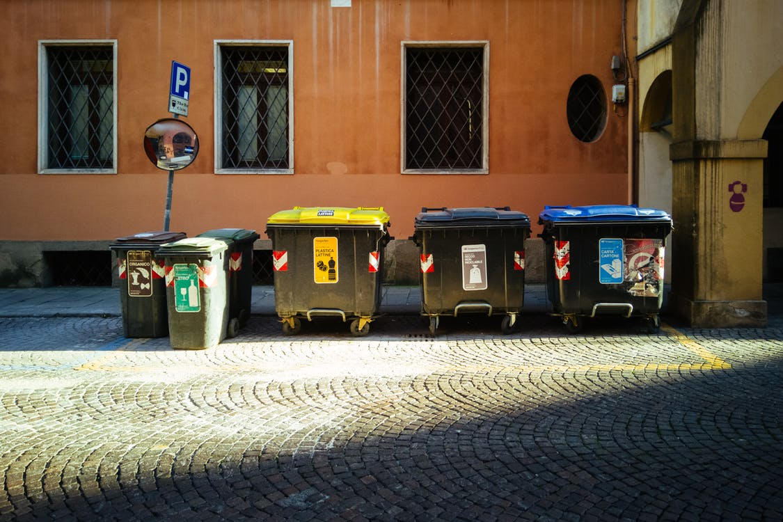 Black and Blue Trash Bins
